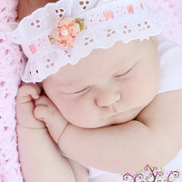 Sweet Peach--White flower Eyelet Lace baby headband and anklet set...Newborn headband, newborn anklet, photo prop...baby anklet