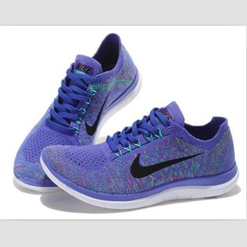 NIKE casual lightweight knitted running shoes Light purple black