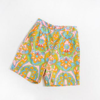 Vintage 60s Shorts - High Waisted Psychedelic Printed Bright Cotton Pin Up 1960s - XS Extra Small