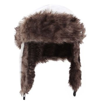Yesurprise Trapper Warm Russian Trooper Fur Earflap Winter Skiing Warm Hat Cap Women Men Unisex Windproof Army White