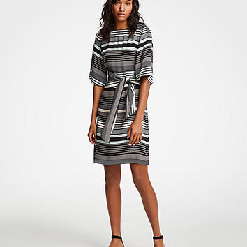 Striped Tie Waist Shift Dress | Ann Taylor