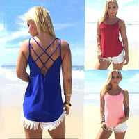 New Sexy Women Summer Casual Backless Spaghetti Strap Vest Tops T-Shirt Camisole