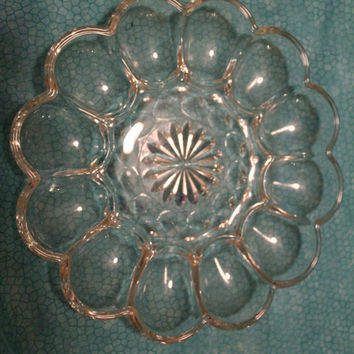 Two Vintage Anchor Hocking Crystal Fairfield Deviled Egg Plate or Server