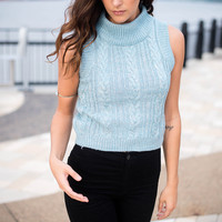 Blue Sleeveless Cable Knit Sweater
