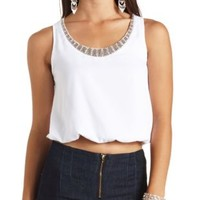 Bloused Rhinestone-Embellished Crop Top