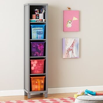 Five Cube Tall Bookcase (Grey) in Bookcases | The Land of Nod