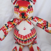 Navajo blanket white bear 2, white fire, pendleton inspired, stuffed animal, plush, pendleton blanket, native indian, teddy bear