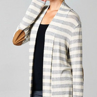 Striped Cardigan with Elbow Patches - Gray