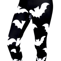 Release The Bats Black & White Flying Bats Leggings