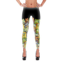 LEGGINGS - Happy Cats by Catru - Printed leggings / Yoga leggings / Gift for Teen / Gift for Her / Tight / Cat Lady / Gift for Cat Lady