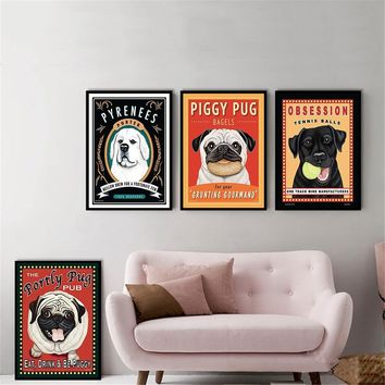 Pug Dog Animals Wall Prints Canvas Pictures for Living Room Home Decor Posters and Prints Wall Art Retro Kitchen Decor Quotes