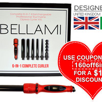 BELLAMI 6 in 1 Complete Curler Set (UK/IRL) by Clip-In Hair Extensions | Professional Hair Styling Tools | Haircare by BELLAMI Hair | Clip-In Hair Extensions | Professional Hair Styling Tools | Haircare by BELLAMI Hair