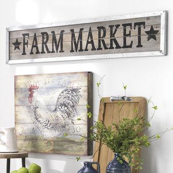 Country Farm Market Wood Plank Board and Metal Framed Sign - 47-1/2-in