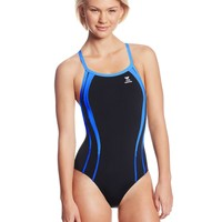 TYR Sport Women's Durafast One Alliance Splice Diamondfit Swimsuit (Black/Red, 30)