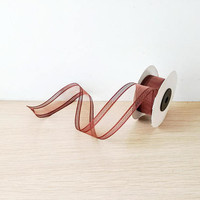 Clear brown ribbon, transparent organza ribbon with striped ends in chocolate brown, 5 yards