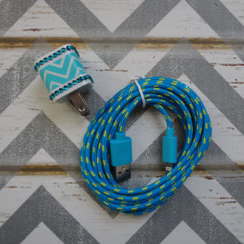 New Super Cute Blue & White Chevron Design Wall iphone 5/5s Charger + 10ft Blue Braided cable cord Super Long