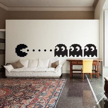 Pacman Wall Decal Decor Art Vinyl Pac Man Boys Kids Room Decals