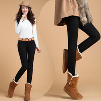 2014 Winter New Plus Size Women Jeans Solid Warm Thicken Fleeces Pencil Pants Elastic thickening denim trousers