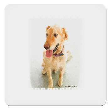 "Golden Retriever Watercolor 4x4"" Square Sticker"
