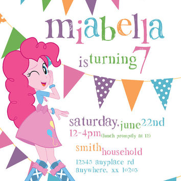 My Little Pony Equestria Girls Pinkie Pie Theme - Birthday Invitation- DIY Printable Invitation - By Cici and Bobo