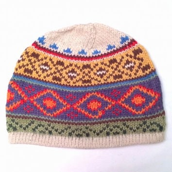 "Handmade 100% Alpaca Lined Beanie Hat ""Diamond"" for Men or Women. Perfect for Gift Giving!"
