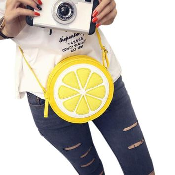 Round Lemon Yellow Shoulder Bag