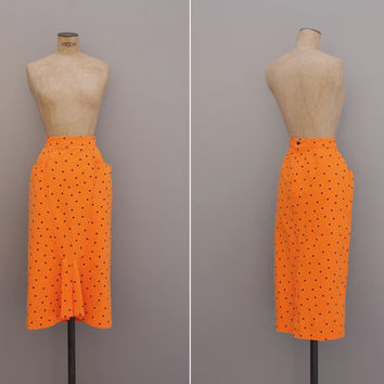 Heartbreak City Skirt - Vintage 1980s Pencil Skirt - Orange Black Polka Dot High Waist Skirt Size Medium M