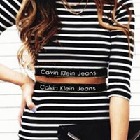 """Calvin Klein"" Long-Sleeved Stripe Two-Piece dress Skirt Suit H-A-KSFZ"