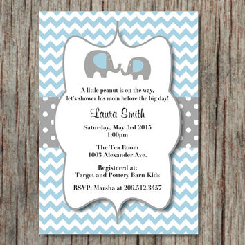 Baby Shower Invite Powder Blue Grey Printable Editable Invites Instant Download Elephant Invitations 5x7 - 003