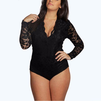 Bodysuit Women Fashion Sexy V Neck Long Sleeve Lace Patchwork Black Scallop Romper Skinny Jumpsuit Plus Size 6XL