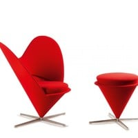 Verner Panton. 'Heart - K3' easy chair with ottoman