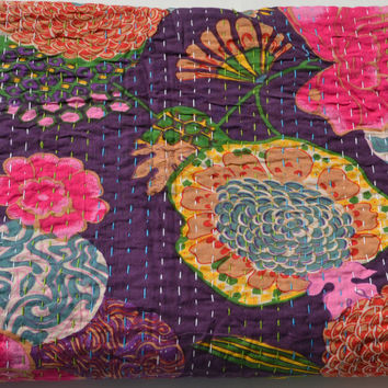 Purple Cotton Bedspread In Joyful Floral Print Handcrafted With Love