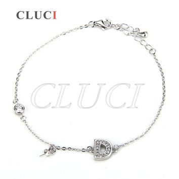 CLUCI 925 sterling silver bracelet accessory for women making pearls bracelet charms, Letter D bracelet jewelry gift