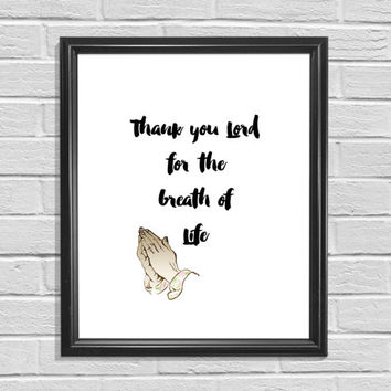 Prayer Print Typography Art Printable Art Home Decor Inspirational Print