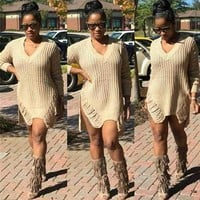 Khaki Plain Hollow-out Irregular High-Low V-neck Casual Sassy Knit Oversized Dress Sweater