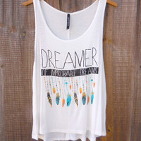Dreamer Tank Top [7295] - $21.00 : Feminine, Bohemian, & Vintage Inspired Clothing at Affordable Prices, deloom