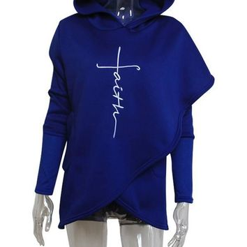 "New Blue ""Faith"" Letter Print Irregular Pockets Long Sleeve Fashion Hooded Sweatshirt"