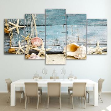 Seashells starfish beach 5 piece canvas wall art print