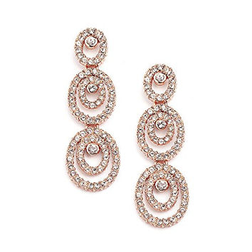 Mariell Concentric Ovals Genuine 14KT Rose Gold Plated Pave CZ Bridal Fashion Chandelier Earrings