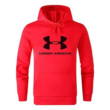 Under Armour Fashion Men Women Casual Print Long Sleeve Sweatshirt Hooded Sweater Top Red
