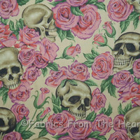 Resting in Roses Floral Skulls Tea Tan BY YARDS Alexander Henry Cotton Fabric