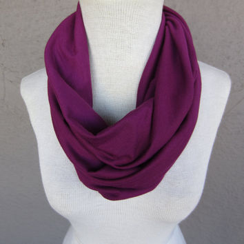 Fuchsia Infinity Scarf  Bright Purple Jersey by CatStitchClothing