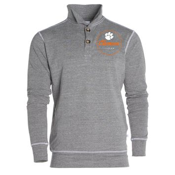Official NCAA Venley Clemson University Tigers TIGER RAG Women's Boyfriend Fit Triblend 1/4 Button Pullover Full Sleeve O-Neck Durable Premium Sweatshirt