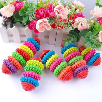 Colorful Dog Chew Toys Soft Rubber Toy Resistent Biting For Small Dogs Pet Molar Training Teeth Cleaning Products