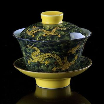 Chinese Tea Set Gaiwan Porcelaintraditional Dragon Kung Fu Tea Set Tureen Ceramic Wedding Tea Bowl Cupgongfu Porcelain Gaiwan