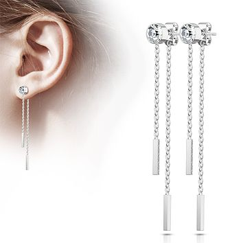 Drop of Bling - Bezel Set CZ with Free Falling Chain Double Bars Stainless Steel Stud Earrings