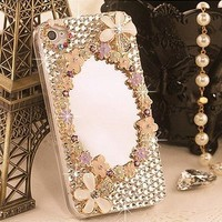 3d Magic Mirror Crystal Diamond Case Cover for Iphone 4 (Gold)
