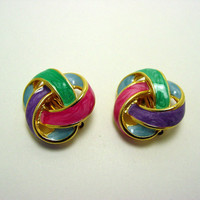 Vintage 80s Pastel Clip Earrings (retro knot gold tone colorful pink green blue costume jewelry enamel paint 70s)
