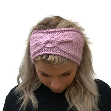 Hand Knit Headband, Womens Wool Turban, Medium Pink Winter Headband, Boho Winter Headband, Handknitted Headband, Custom Colours