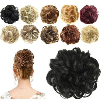 Curly Tail Chignons Hair Heat Resistant Synthetic Hair Rope Natural Fake Hair Bun Curly Clip In Hair Extensions Hairpiece